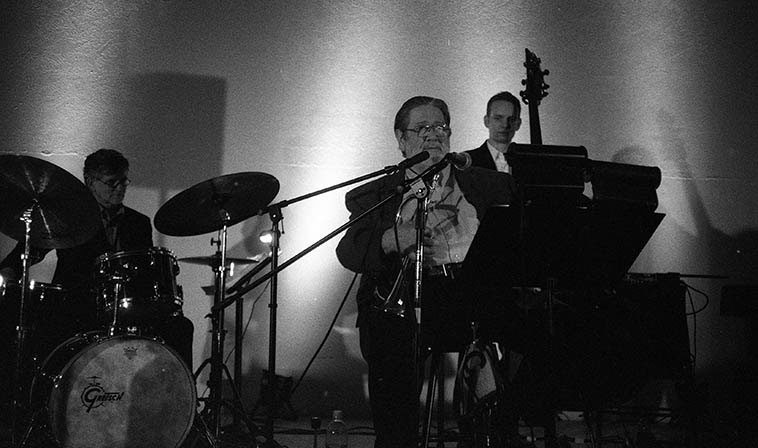 Bobby Shew Quartet -- December 30, 2o11 Albuquerque at Nahalat Shalom Temple -- Michael Glynn, bass; John Proulx, piano; Cal Haines, drums; Bobby Shew, trumpet, cornet, flugelhorn ---- photo by Mark Weber