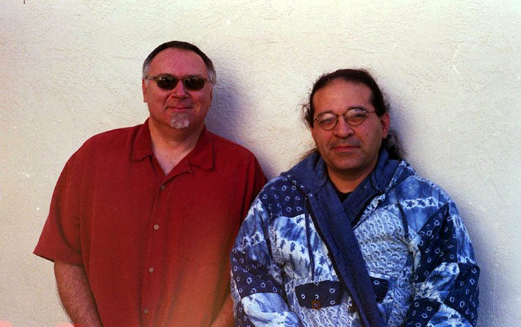 Michael Vlatkovich & Chris Garcia at Studio 725 Albuquerque -- May 20, 2003 -- photo by Mark Weber -- (among many hats Chris wears he drums in Bobby Bradford's Mo'tet and with the Grandmothers and with a pre-Columbian music duo)