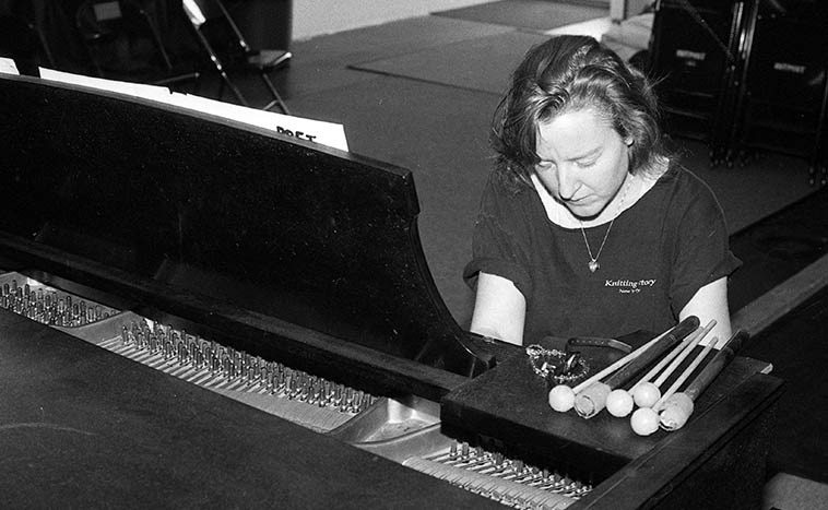 Afternoon practice on a Thursday: Myra Melford on the Outpost Steinway A -- October 19, 1995 -- photo by Mark Weber -- Myra is bringing her Snowy Egret to the Outpost this Friday (October 16, 2o15) -- Follow her cogent words speaking with Albuquerque's own Mel Minter last week at > http://www.melminter.com/2015/10/11/myra-melford-the-snowy-egret-interview/