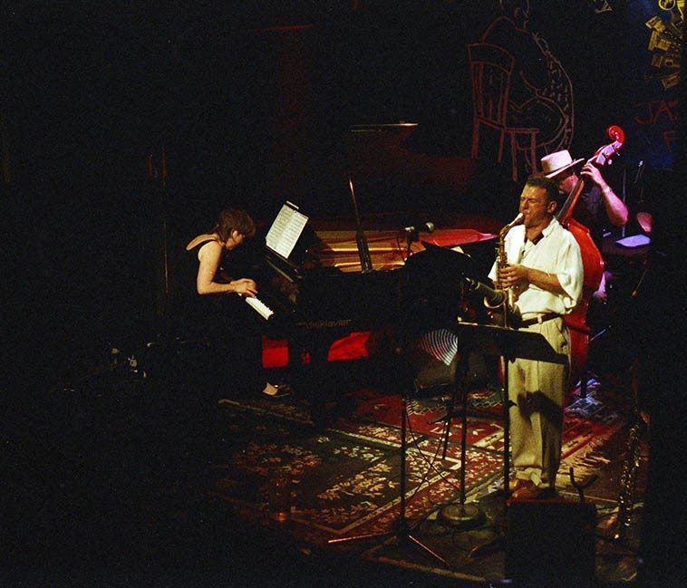 Marilyn Crispell with the Bobby Zankel Quartet (Tyrone Brown, bass; Newman Taylor Baker, drums; Bobby Zankel, soprano & alto saxophones) -- June 29, 1997 Knitting Factory, NYC -- photo by Mark Weber ------ My first thought when I think of Marilyn Crispell is: Introspective