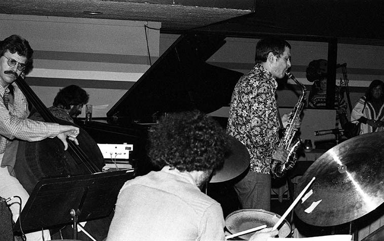 "Art Pepper Quartet at Donte's, North Hollywood ---- April 27, 1977 --- Joey Baron, drums; Bob Magnussen, bass; Milcho Leviev, piano -- photo by Mark Weber ----- Art used to rip a hole in the sky at Donte's playing clear up to 2 o'clock and sometimes beyond, as John Breckow said one night, ""Man, it's like catching lightning in a bottle,"" that was Art Pepper in the Seventies in Los Angeles, what a party."