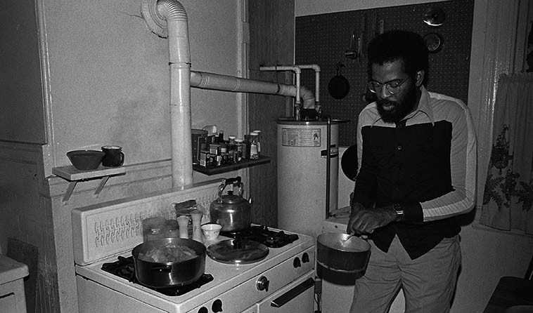I laugh to see this photo, me N George went on a lot of capers together ---- George is a St Louis trumpeter, where trumpets are a religion, he lived in San Francisco in the late 70s & 80s -- he's making us breakfast at his & wife Clara's apartment in the Lower Mission, San Francisco, I was crashing at their place that long weekend for the New Jazz Fest that he was producing: George Sams, we'll listen to some of his music on this show -- photo by Mark Weber -- February 13, 1981----