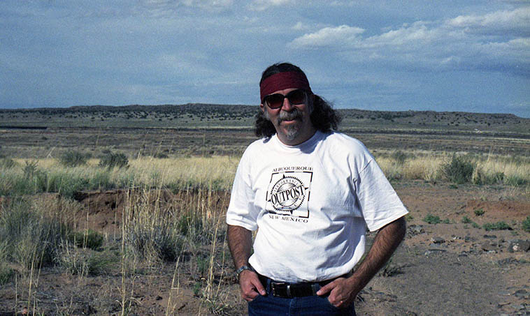 That's me on the day we decided to go investigate the Los Lunas Mystery Stone -- April 30, 1995 -- photo by Janet Simon -- 35 miles south of Albuquerque -- In some distant time, longer ago than two millennia, mariners from the Mediterranean, in wetter times, made their way up the Rio Grande (and then to the Rio Puerco) and left an inscription on a rock in a small vale of Hidden Mountain carved in a Phoenician tongue the Decalogue of the Israelites