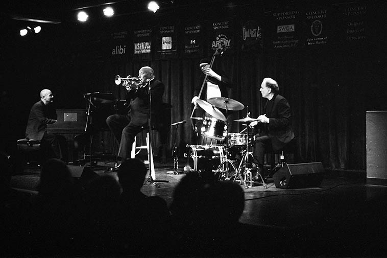 Warren Vache Quartet -- October 8, 2o15 at Outpost Performance Space -- John Trentacosta, drums; Earl Sauls, bass; Warren Vache, cornet; Tardo Hammer, piano -- photo by Mark Weber