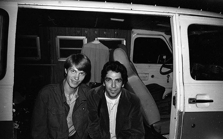 Whew, we still look wet behind the ears! That's Nels Cline and myself sitting in an equipment van somewhere in Los Angeles -- May 15, 1982 -- photographer unknown ---- It might have been on one of the sessions for Nels' first album, the duet record he made with Eric Von Essen, that I got to write my first ever liner notes ( ! ) Long player album was called ELEGIES (Nine Winds) -- But I see here that that record came out in 1980, so, that photo is from some other time . . . . .
