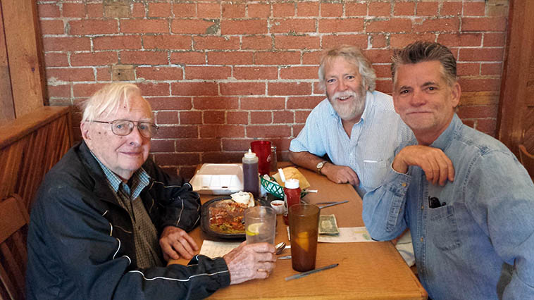 Arlen Asher, Mark Weber, Cal Haines at our favorite restaurant post-radio-show lunch in Santa Fe: Tomasita's ---- snapshot on Cal's smart phone snapped by our waitress Jolene -- June 6, 2o14 ----- I'll fly some of Cal's adroit and consummate drumming today on the show and not just because it's his birthday (b. 18feb50 in Canton, Ohio) maybe some tracks with Arlen on one of the many woodwinds he has at hand (besides his mastery of jazz, Arlen has also worked in television and radio and interviewed Louis Armstrong circa 1958!) I do radio on KSFR with Arlen every few months and he is always interested in everything, when I got into yoga ten years ago he wanted to know everything about it, and when I started studying Anglo-Saxon he wanted to know which book to get, after my trips to New York and L.A. he gets me on the radio to give a full report, he's also a photographer, and built his own house out in the wilderness off the grid south of Santa Fe -----------------Cal's father was a saxophonist and Cal was a working musician by his teens, he studied with the same drum teacher as Joe Morello, every Saturday Cal would take the long bus trip from Canton up to Cleveland to The Arcade Building (401 Euclid) for his lessons with Charlie Wilcoxin, author of several indispensable method books (which Cal now gets his own students into) . . . . and the music continues . . . .