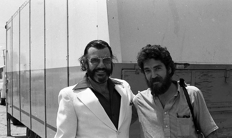 Johnny Otis and your Thursday KUNM afternoon jazz host Mark Weber at Watts Towers Jazz Festival ---- July 16, 1983 ---- Johnny was the emcee that day ----- Hal McKusick told me that when he worked for Johnny during 1945-1946 in Los Angeles that Johnny was an entirely decent and fair band leader to work for, and everything I've ever witnessed with Johnny bears that out . . . .
