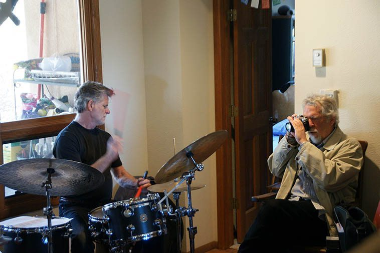 Cal Haines and Mark at private house party in Corrales NM on December 13, 2015 -------- photo by Victoria Rogers