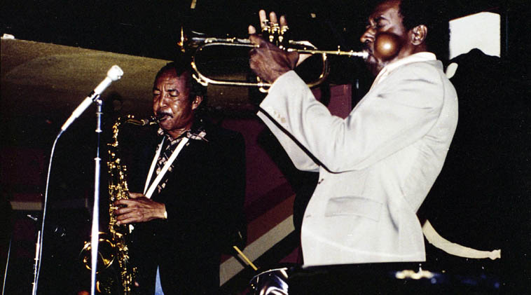 Harold Land & Blue Mitchell -- July 10, 1977 -- photo by Mark Weber at Donte's, North Hollywood