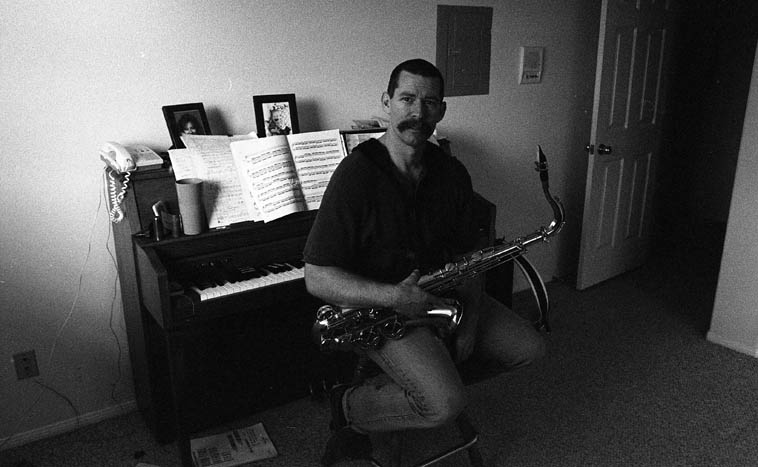 "The maestro Bill Plake in his studio in Redondo Beach, or, as he called it ""The Condo in Redondo"" (he now lives in Los Angeles proper) -- photo by Mark Weber -- November 25, 1996 -- when I stayed there we could walk down to The Lighthouse and look at the ferns"