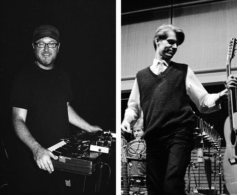 Thollem McDonas with his gear -- August 9, 2o15 -- Albuquerque ----- Nels Cline, a long time ago (Alex Cline on drumset) -- February 8, 1985 ---- photos by Mark Weber -- Thollem and Nels have made a couple albums (the 12-inch variety) together recently