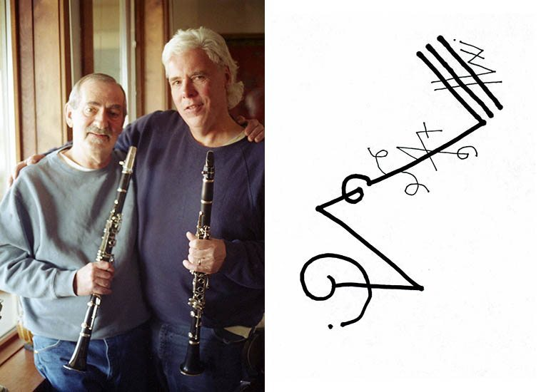 These two instantly became fast friends in the fraternity of clarinets -- I told Kenny he needed to check this guy out and when he did he flipped, and then later he showed Bill some tricks and some alternate fingerings and let Bill play Pee Wee Russell's clarinet -- December 16, 2005 at KD & Elsa's place in Sandia Park, New Mexico -- photo by Mark Weber