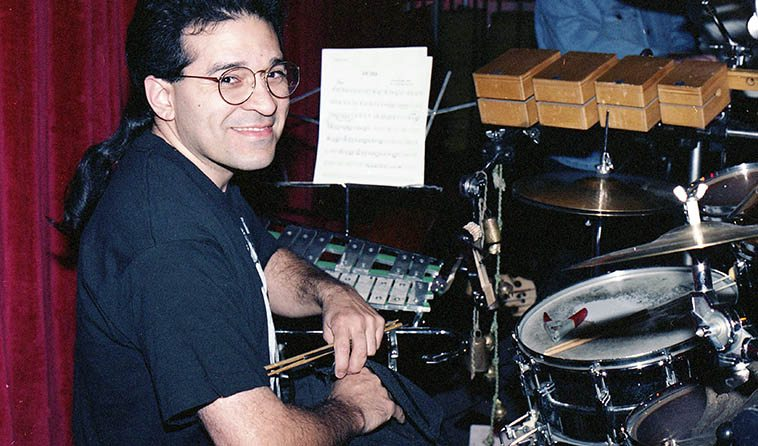 Los Angeles drum maestro Chris Garcia -- March 7, 1994 in Albuquerque -- photo by Mark Weber -- In my next life I want to be a drummer
