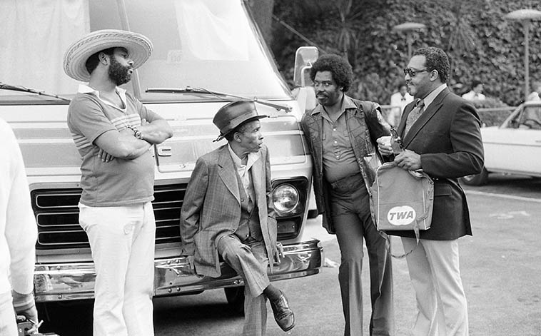 "A moment of stasis backstage at Hollywood Bowl during the Playboy Jazz Festival: the two guys in the middle are Lammar Wright Jr (hat) and Harold Howard, both trumpeters -- the gentleman on the right might be with the Basie band -- June 19, 1982 -- photo by Mark Weber -- Lammar was a complete crack-up to hang with, he was full of stories of the bebop days and so forth, me and Harold laughed for years, after Lammar was gone, over his retort when an old friend asked ""Lammar, how come you didn't bring your horn!"" and Lammar barked ""BECAUSE I'M NOT PLAYING TODAY!"""