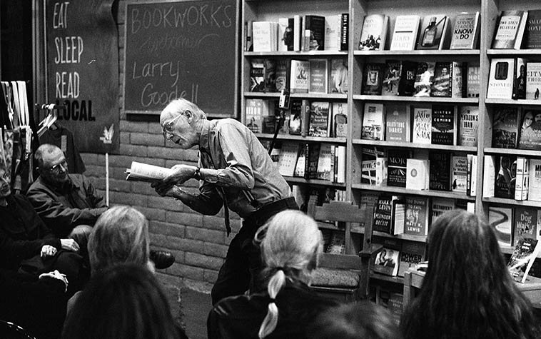 Larry Goodell poetry reading at Bookworks, Albuquerque -- January 22, 2o16 -- photo by Mark Weber -- Larry will be our guest this day on the Thursday jazz show, it's been awhile since we last had him on, so he'll read an extra poem or two to make up for the space time absence