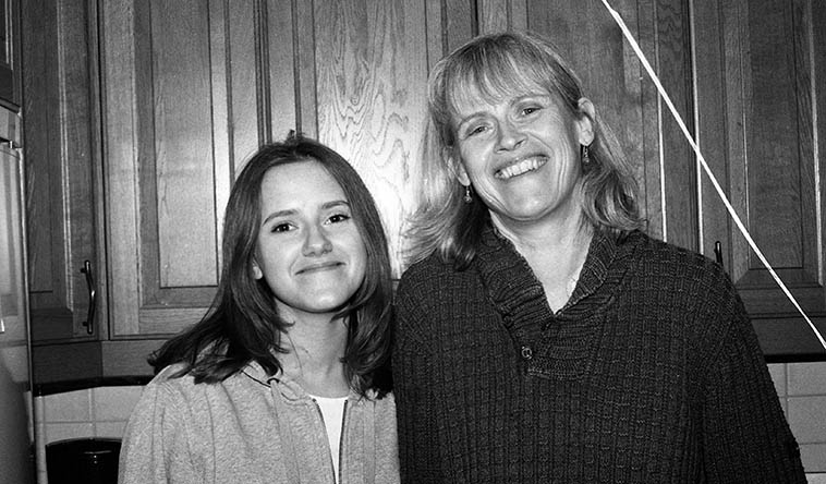 "Daughter and mother: Alice Fite and Boel Dirke at home -- May 31, 2o16 -- photo by Mark Weber -- You know Boel from the 2 records she made on New Artists records playing piano (Bob Casanova's FROM THE INSIDE OUT, and the trio record SWEET FULFILLMENT w/ Charley Krachy and her husband Andy Fite) ---- says she only picked up the organ at age 40 and now feels comfortable with it -- She's the organ player and choir director of Grondal Kyrkan ---- They have a nice house, painted yellow, just a little south of the church -- She met Andy in NYC when she came over on a grant to study with Blossom Dearie, but when that didn't pan out she found Liz Gorrill for a teacher, which is nothing but good -- After a couple years in NYC they moved back to her Sweden and Andy says he's been in Stockholm ""going on 22 years."" (Liz changed her name to Kazzrie Jaxen in 2001.) Alice looks a little like Greta Garbo, who was also born & raised in Stockholm."