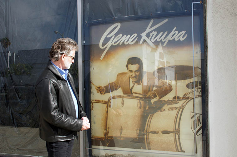 Cal Haines in front of Professional Drum Shop, 854 Vine, in Hollywood, Los Angeles -- January 21, 2o11(directly across the street from Musicians Union Local 47) -- photo by Victoria Rogers