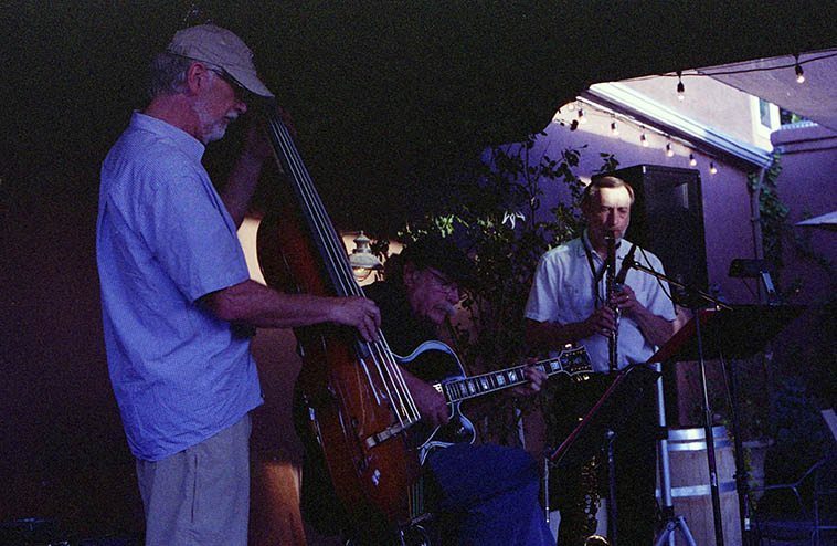 The Bobcats: John Griffin, bass; Dan Dowling, 7-string guitar; Bob Gusch, woodwinds & percussion -- gig at St. Clair Winery, Albuquerque -- June 2, 2o13 -- photo by Mark Weber