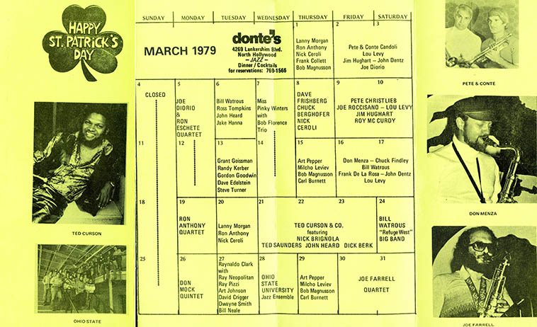 Look at the drummers: John Dentz, Carl Burnett, Nick Ceroli, Roy McCurdy, Dick Berk, Jake Hanna, wow -- Handbill from my main hang in the 70s