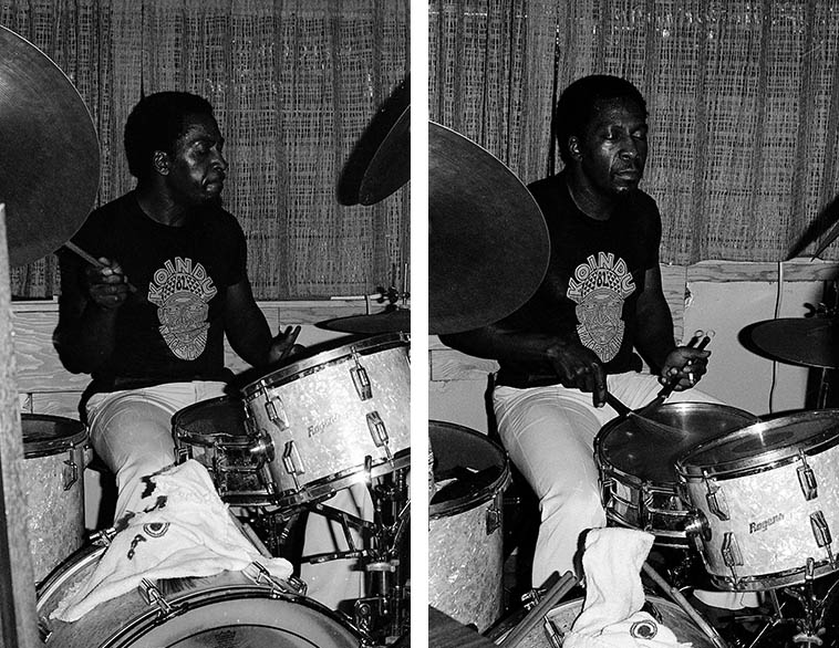 "The Legendary James Black -- Alice's Keyhole Lounge, New Orleans -- July 3, 1982 -- photo by Mark Weber -- Black was session drummer on hundreds of R&B & funk records made in New Orleans, like Eddie Bo's ""Hook and Sling"" (check it on YouTube), Fats Domino, all that, all the while being a hardcore jazz cat making Ellis Marsalis first album MONKEY PUZZLE (1963) and a gang of Yusef Lateef albums including the immortal LIVE AT PEP'S, and the Nat Adderley record he made IN THE BAG (1962) so you know I had to find James Black (1940-1988) notwithstanding the cabbie who said I was nuts for going into that neighborhood"