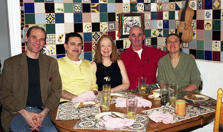 We called ourselves the Warne Marsh Appreciation Society -- That's Janet & my kitchen and the tile job I did, you like? Left to right: Richard Tabnik, Roger Mancuso, Connie Crothers, David Parlato, Janet Simon -- March 25, 2001 -- photo by Mark Weber -- They were in town for a concert at the Outpost