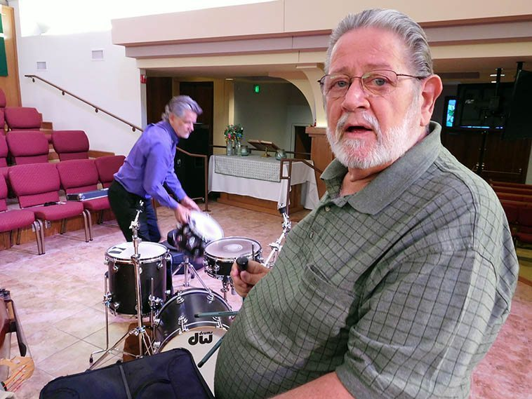 "Bobby Shew has become one of the great jazzmen, always learning more, always teaching, always making it real -- Here he's getting ready for a Sunday afternoon concert in Albuquerque at St John's Methodist Church, September 18, 2o16 with his Quartet (Jim Ahrend, piano; Cal Haines, drums; Colin Deuble, bass) -- At this concert we learned that Bobby wrote his tune ""Red Snapper"" thinking about Don Menza, while sitting around on the Mork & Mindy set"