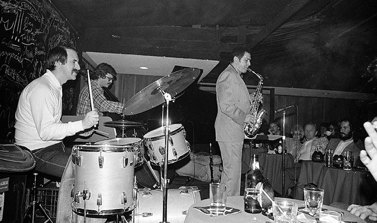 Art Pepper Quartet at Donte's -- January 15, 1981 -- John Dentz, drums; Mike Lang, piano; Bob Magnussen, bass -- photo by Mark Weber