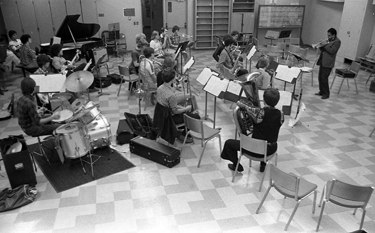 Bobby Bradford was his Pomona College Stage Band -- Thatcher Music Building, Claremont Colleges, California -- February 1979 -- photo by Mark Weber