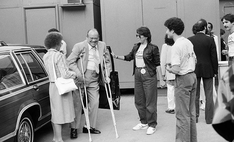 """Arnett Cobb at Hollywood Bowl Playboy Jazz Festival -- June 19, 1982 -- photo by Mark Weber -- Somewhere I have a shot where Arnett told me """"Wait a minute,"""" then raised his crutches straight up in the air, and said, """"Okay, shoot!"""""""