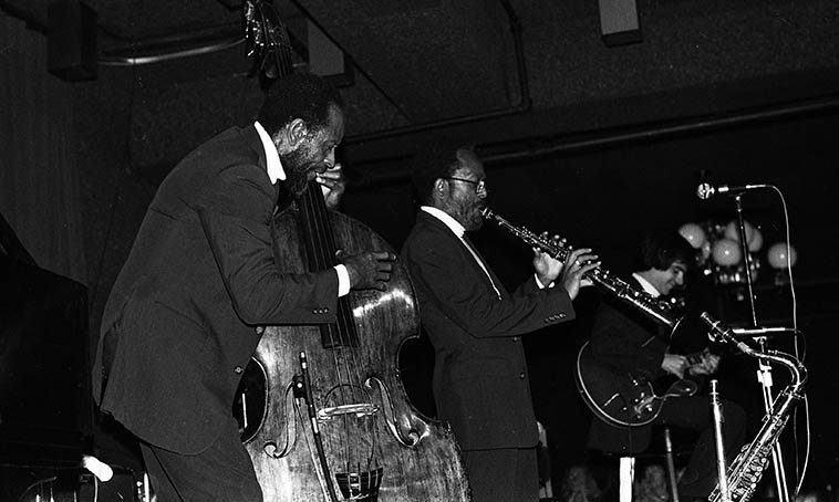 The Heath Brothers at Rumsey's, Redondo Beach, California -- Sept 27, 1979 -- Percy Heath (bass), Jimmy Heath (soprano saxophone), Tony Purrone (guitar) -- photo by Mark Weber