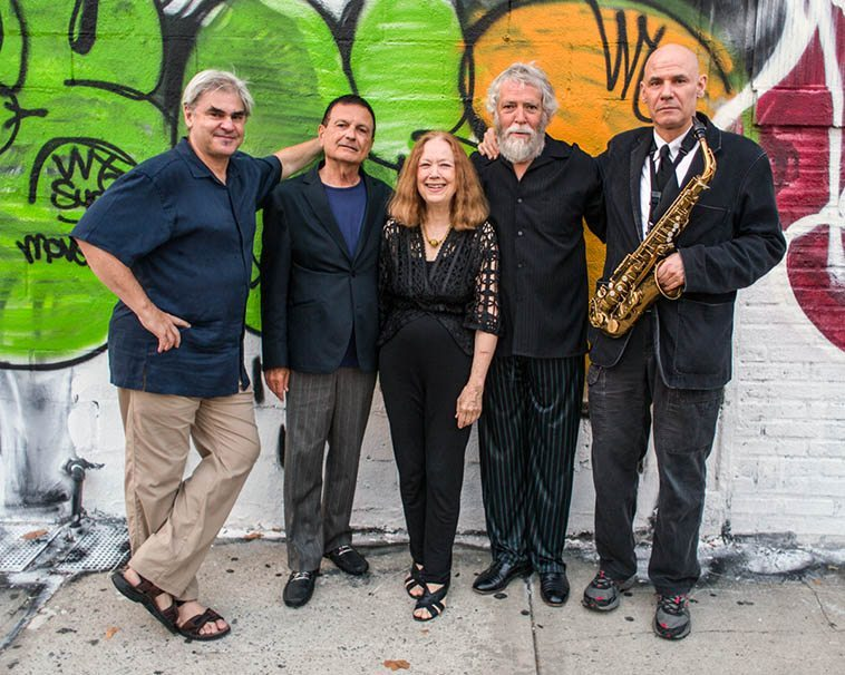 The Connie Crothers Quintet: Ken Filiano, Roger Mancuso, CC, Mark Weber, Richard Tabnik -- outside The Stone, NYC evening of August 23, 2o14 before our set -- photo by Scott Friedlander