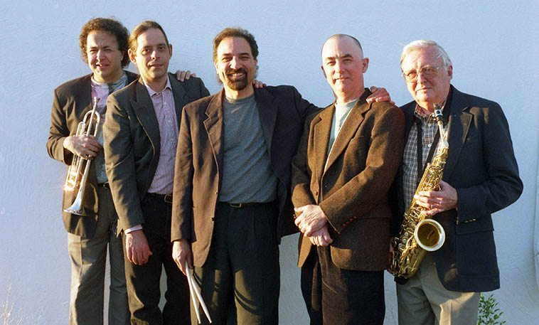 The New Mexico bop band known as Straight Up under the direction of drummer John Trentacosta -- L to R: Michael Morreale(trumpet), Bob Fox(piano), JT, David Parlato(bass), Arlen Asher(woodwinds) -- April 17, 2000 -- photo by Mark Weber -- John grew up in Staten Island and moved to Santa Fe in 1992 and regularly brings his friend from back home Michael Morreale out for some of that New York sound