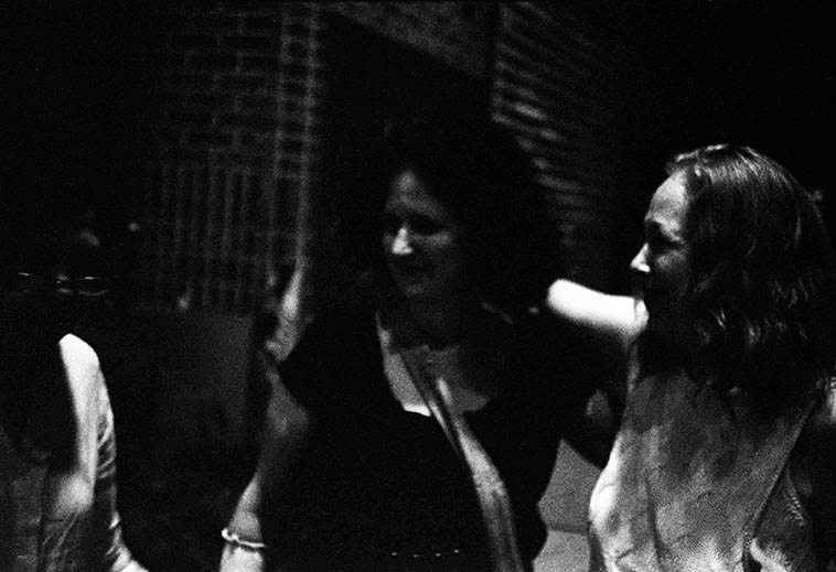 I love this shot, it shows Connie's affection for Virg and Carol -- it was almost midnight and we were on a train platform in Park Slope, Brooklyn, waiting for a train -- Virg Dzurinko, Carol Liebowitz, Connie Crothers -- photo by Mark Weber