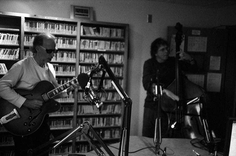 Joshua Breakstone and Earl Sauls in KUNM control room broadcasting live on the Thursday Jazz Show ---- December 17, 2009 -------- AND I am pleased beyond measure that Joshua will be making a return engagement to the Thursday Jazz Show and bringing along his cellist Mike Richmond for some live in-studio music -- Joshua is right out of the Lester Young ethic of lyric melodic narrative story telling improvisation that ranges as far as it can stretch: my kind of music