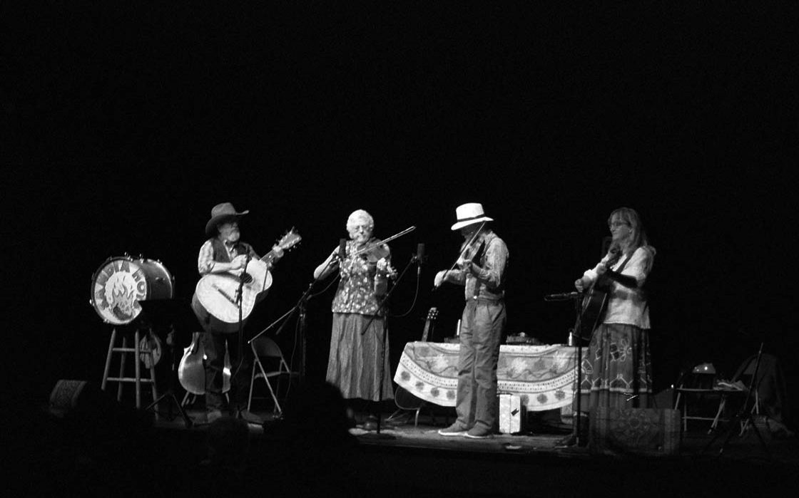 Bayou Seco: Jeanie McLerie, violin | Ken Keppeler, fiddle | Scott Mathis, guitarron Mexicano | Linda Askew, guitar | November 9, 2o13, Albuquerque | Photo by Mark Weber