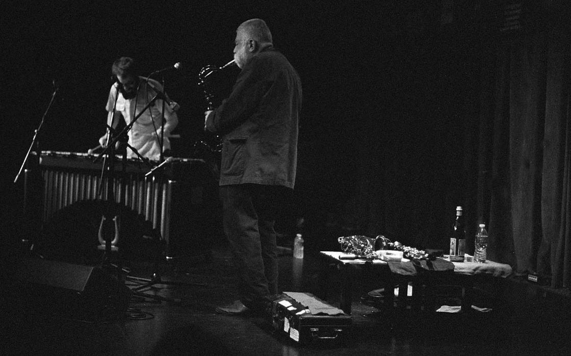 Peter Brötzmann, tenor saxophone in duet with Adam Adasiewicz, vibraphone | Outpost Performance Space | November 21, 2o13 | Photo by Mark Weber
