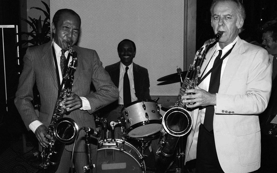Harold Land & Warne Marsh w/ Albert Tootie Heath, drums | Gildo Mahones, piano | Bob Maize, bass | Hyatt Hotel, Sunset Blvd, Hollywood, California | April 12, 1985 | Photo by Mark Weber